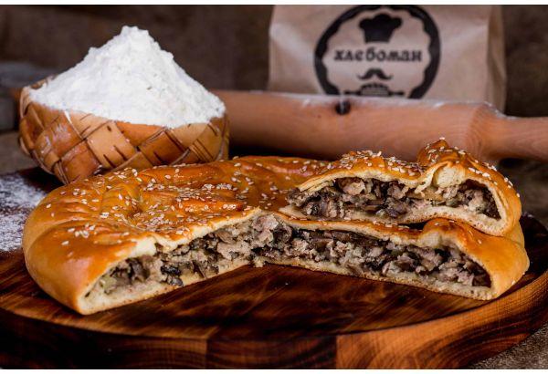 Пирог с мясом (свинина) и грибами