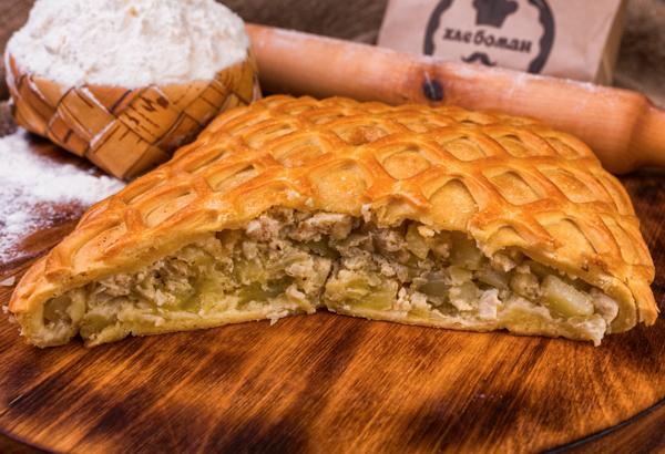 Пирог татарский с курицей и картофелем