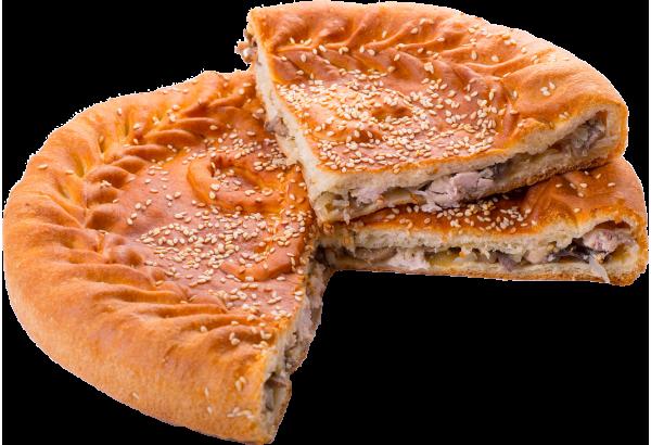 Пирог с филе (курица)и грибами