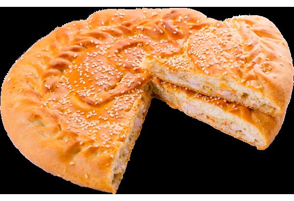 Пирог с филе (курица)и капустой